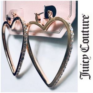 NWT Juicy Couture Heart Gold Faux Diamond earrings